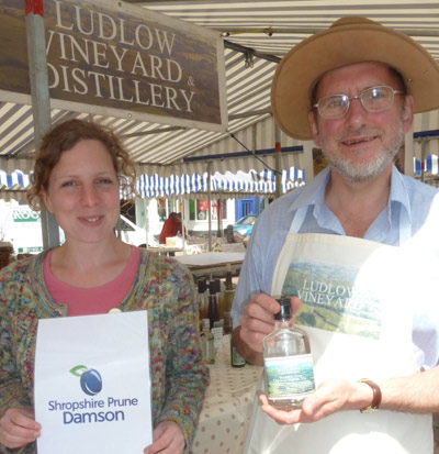 Ludlow Vineyard Distillery showing off gin made with the shropshire prune
